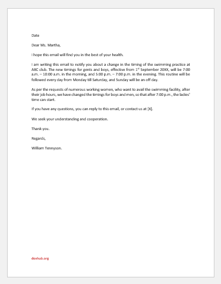Email to Parent Regarding Change of Swimming Time