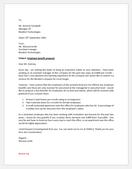 Employee benefits proposal letter to HR
