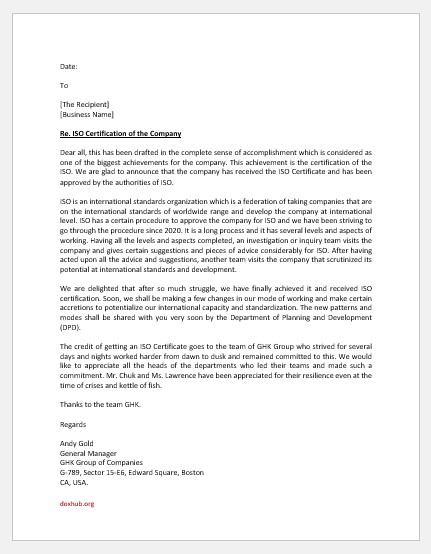 ISO certification announcement letter -1