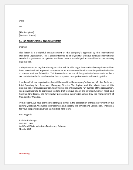 ISO certification announcement letter