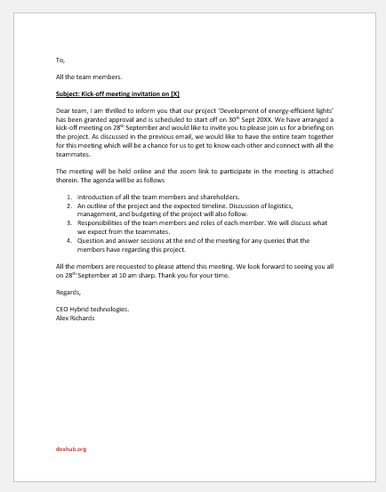 Kick-Off Meeting Invitation Email