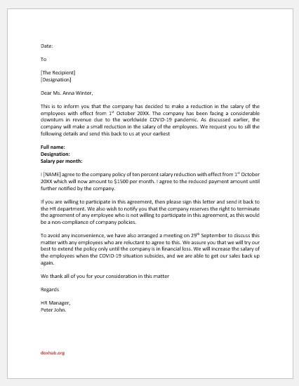 Letter of agreement for reduced pay