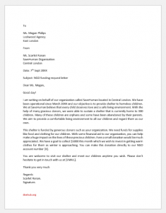 NGO funding request letter