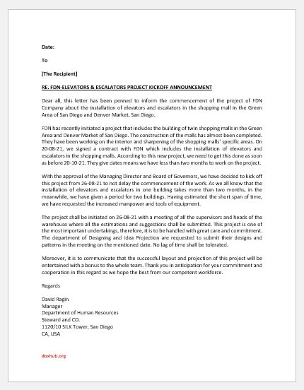 Project kickoff announcement letter