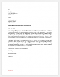 Request Letter to Freeze Salary Deduction