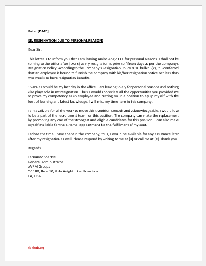 Resignation letter due to personal reason