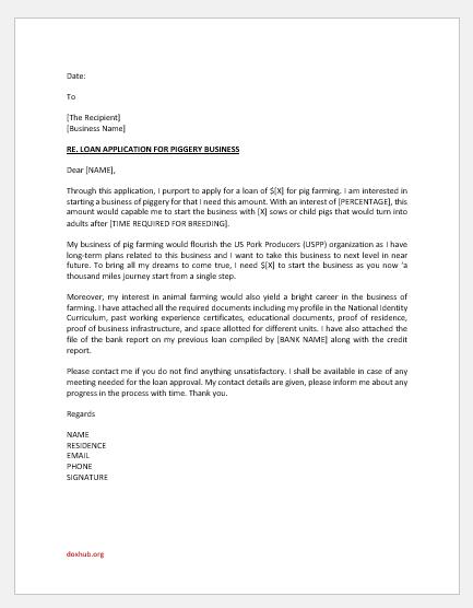 Application Letter for Piggery Loan