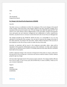 Change in payroll letter to employees