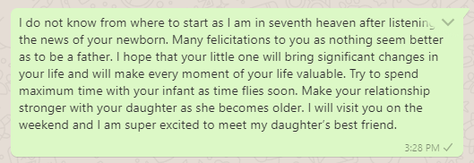 Congratulations message on being a dad