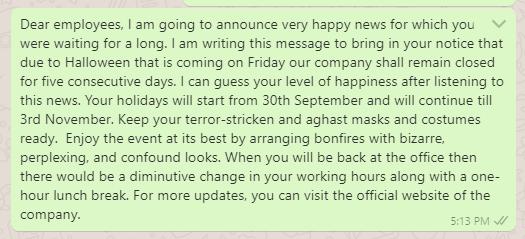 Halloween holiday message