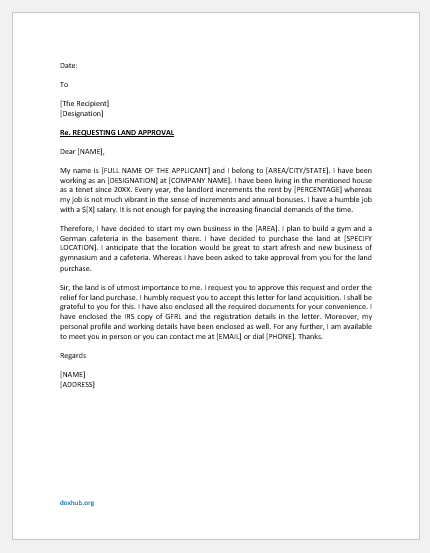 Letter to apply for land