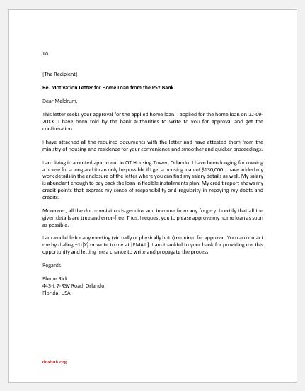 Motivation letter for home loan