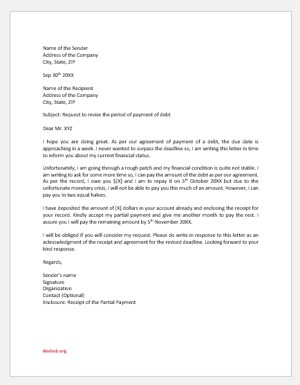 Request Letter for More Time to Repay the Debt