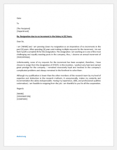 Resignation letter due to no increment