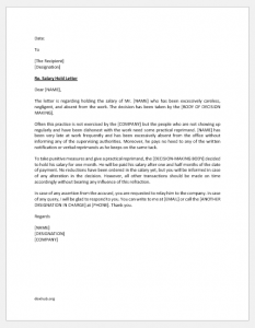 Salary hold letter to bank