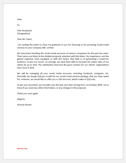 Social media marketing proposal letter